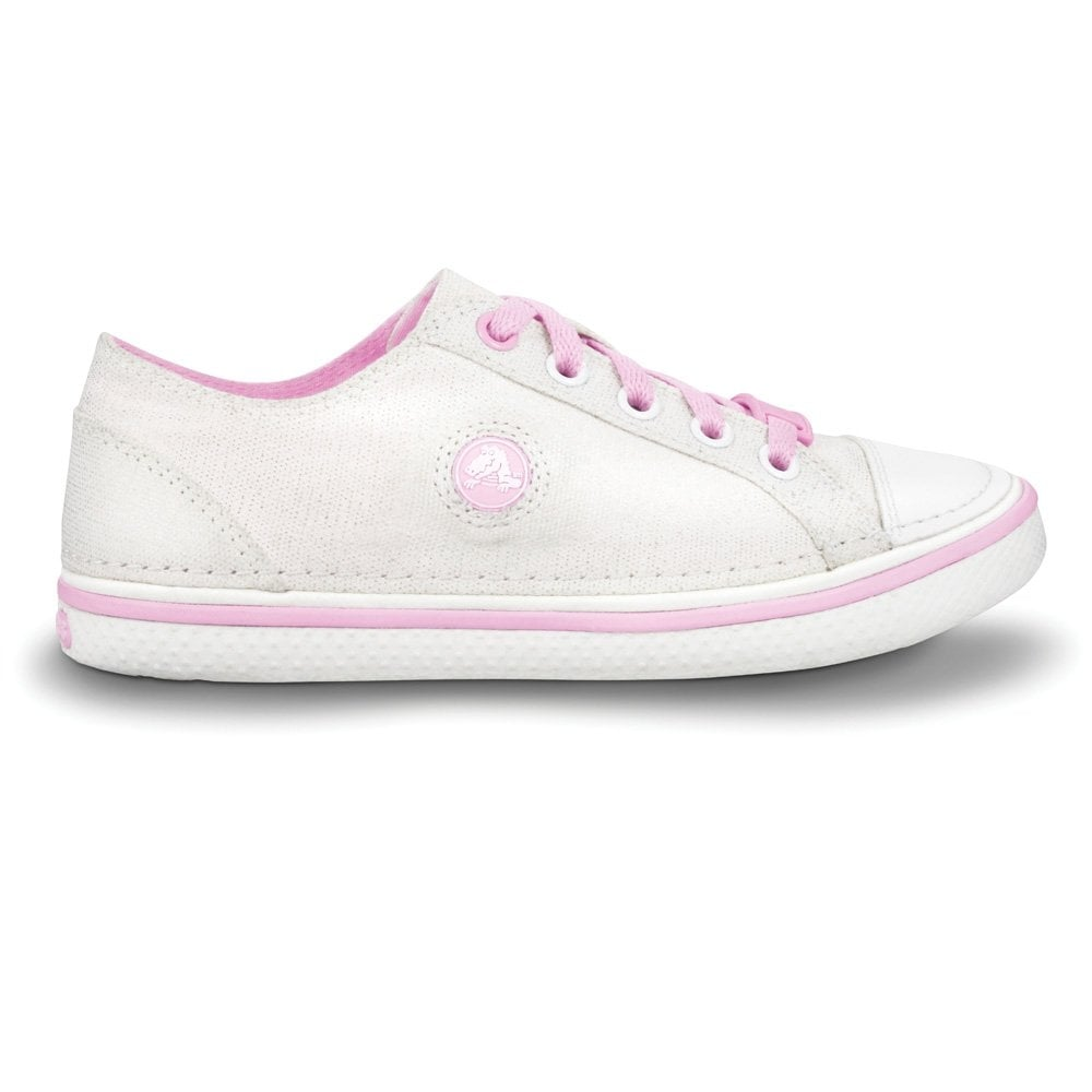 Crocs Girls Hover Sneak Metallic Gold/Bubblegum, Retro styled classic sneaker with a metallic shimmer UK Kids 10