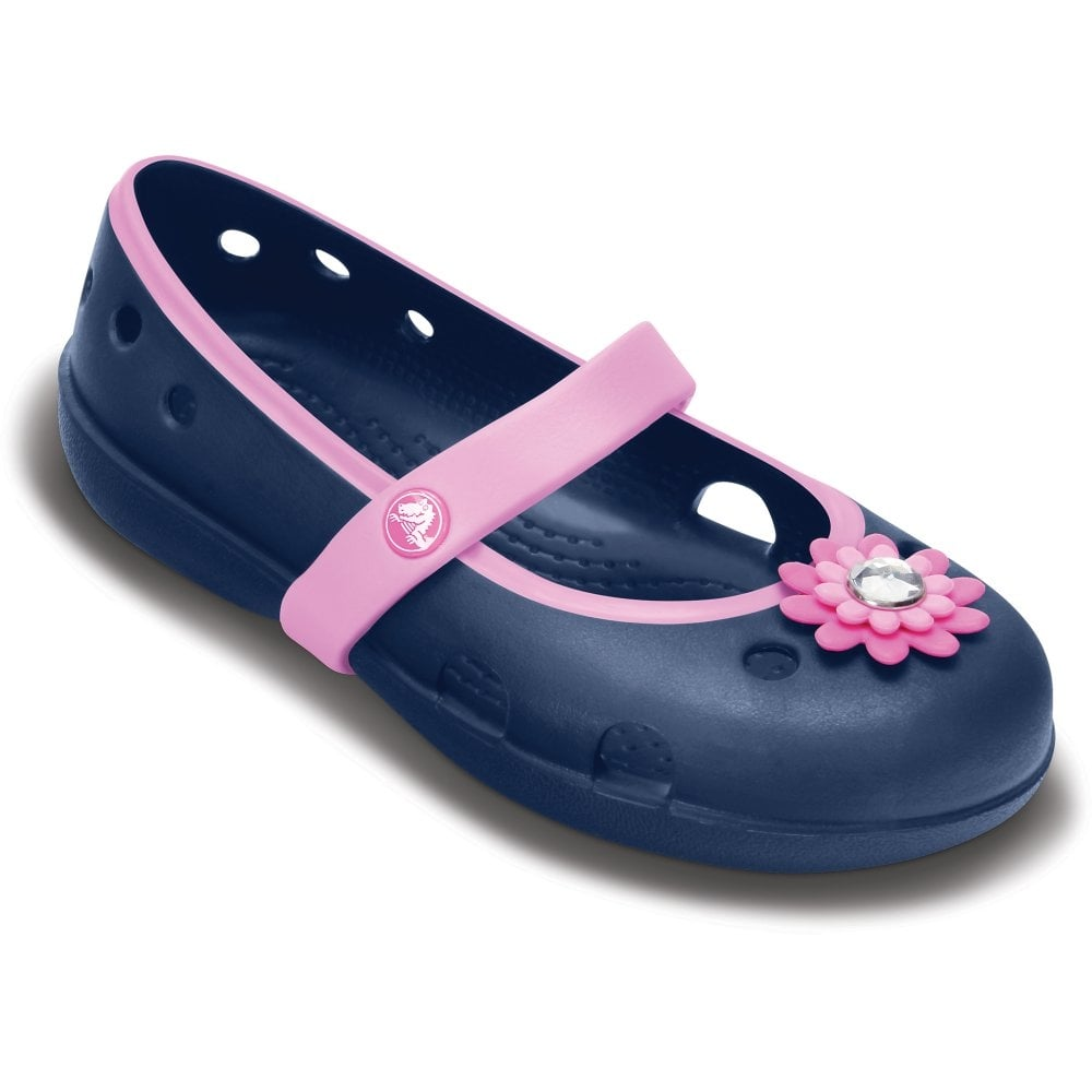 755cfcd16c3a7 Crocs Girls Keeley Petal Flat Navy Carnation