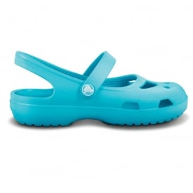 Girls Shayna Aqua, Stylish sling-back flat with room for jibbitz