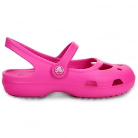 Girls Shayna Neon Magenta, Stylish sling-back flat with room for jibbitz