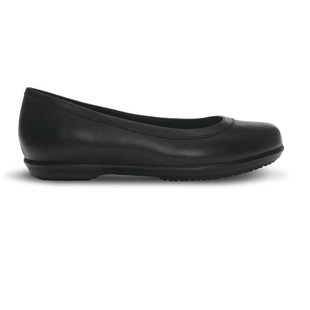 Crocs Grace Flat Black Leather Slip On Shoe Ideal For ...
