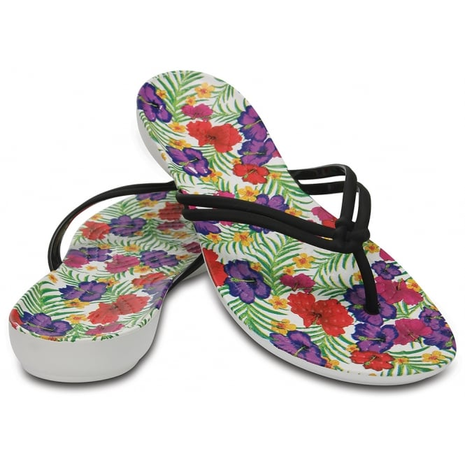 Crocs Isabella Graphic Flip Black/Floral, a pretty flip with feminine shape