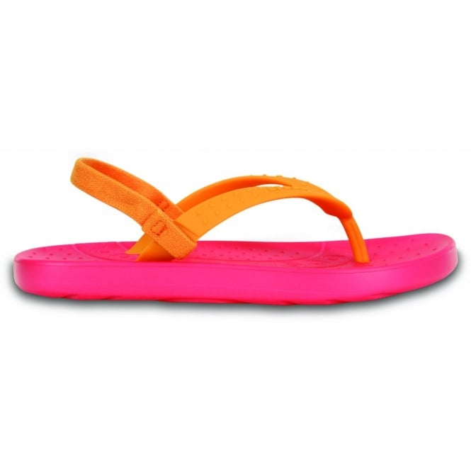 Crocs Kids Chawaii Flip Poppy/Mango, Croslite footbed with soft TPU toe post ideal for beach