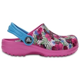 Kids Classic Graphic Clog Multi Pink, Bold graphics for even more fun