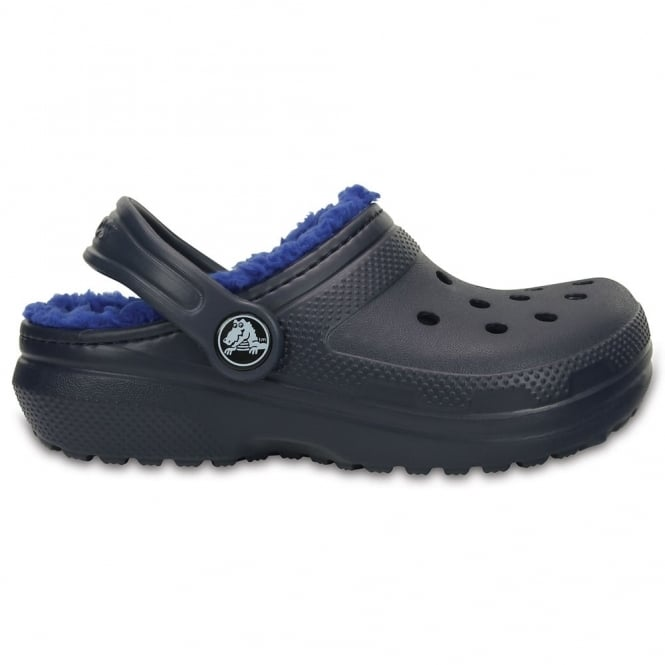 Crocs Kids Classic Lined Clog Navy/Cerulean Blue, all the comfort of the Classic Clog but with a warm fuzzy lining