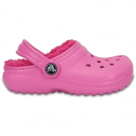 Kids Classic Lined Clog Party Pink/Candy Pink, all the comfort of the Classic Clog but with a warm fuzzy lining