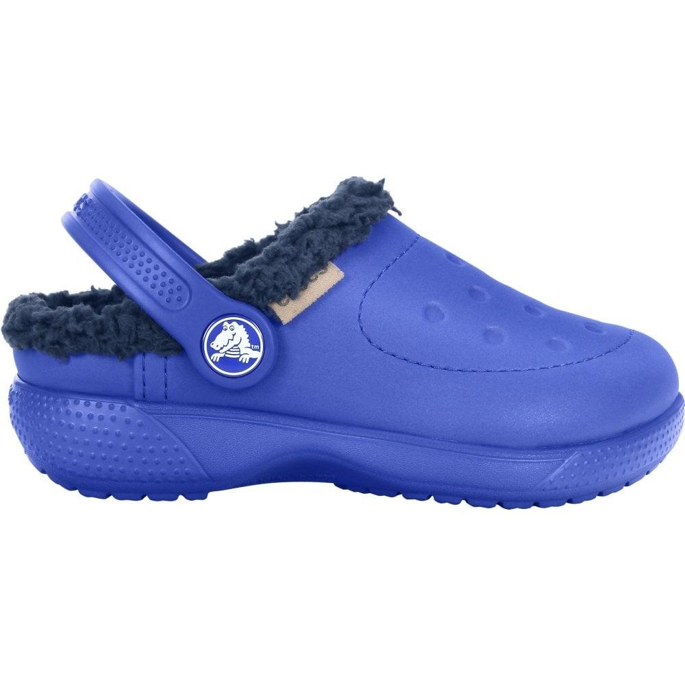 Crocs CLASSIC WINTER Kids Warm Lined Comfy Croslite Clogs Navy//Cerulean Blue