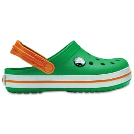 Kids Crocband Clog (SS) Grass Green/White/Blazing Orange