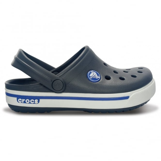 Crocs Kids Crocband II.5 Clog Charcoal/Sea Blue, All the comfort of a Classic but with a Retro look