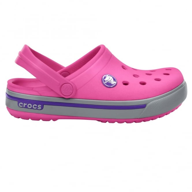 Crocs Kids Crocband II.5 Clog Fuchsia/Light Grey, All the comfort of a Classic but with a Retro look