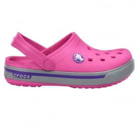 Kids Crocband II.5 Clog Fuchsia/Light Grey, All the comfort of a Classic but with a Retro look