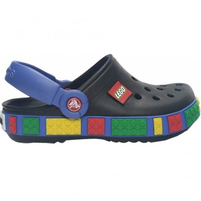 Crocs Kids Crocband Lego Shoe Black/Sea Blue, All the comfort of a Crocband but with LEGO!