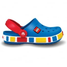 Kids Crocband Lego Shoe Sea Blue/Red, All the comfort of a Crocband but with LEGO!