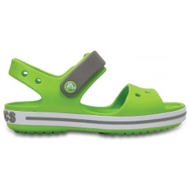 Kids Crocband Sandal Volt Green/Smoke, Kids sporty sandal