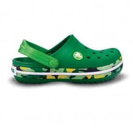 Kids Crocband Shoe CAMO Kelly Green, All the comfort of a Classic but with a Retro look