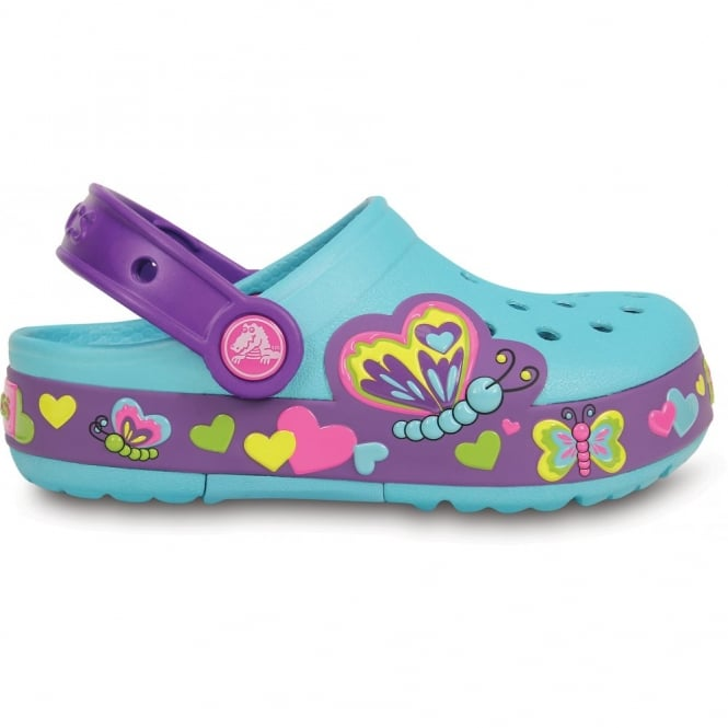 Crocs Kids Lights Butterfly Clog Aqua/Neon Purple, the comfort of the Classic but with fun LED light up design