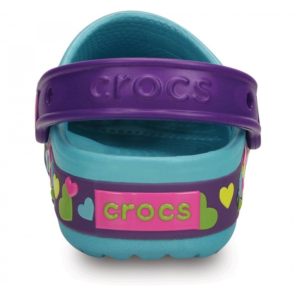 633835861 Crocs Kids CrocsLights Butterfly Clog Aqua Neon Purple