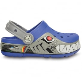 Kids CrocsLights Robo Shark Clog Sea Blue/Silver, the comfort of the Classic Crocs but with fun LED light up design