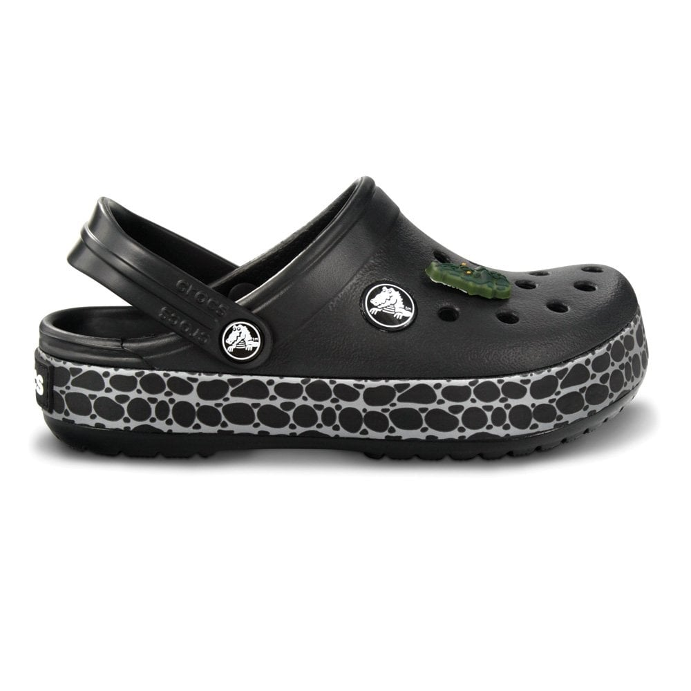 f3ab87fdda02c Kids CrocTile Clog Black, fun patterned band and jibbitz on these  CrocTastic Crocbands