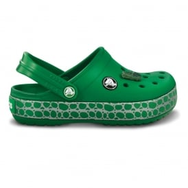 Kids CrocTile Clog Kelly Green, fun patterned band and jibbitz on these CrocTastic Crocbands