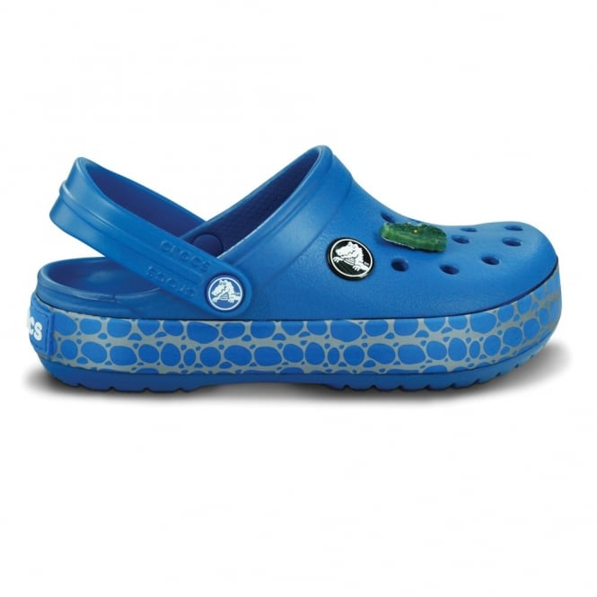 Crocs Kids CrocTile Clog Sea Blue Fun Patterned Band And Jibbitz On Delectable Patterned Crocs