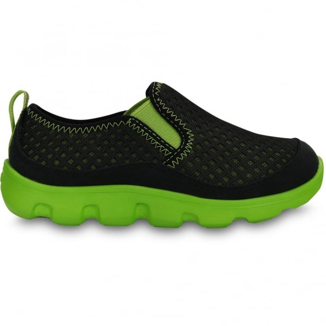 Crocs Kids Duet Sport Slip On Black/Volt Green, very light with a cool mesh upper
