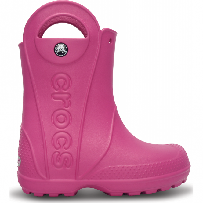 Crocs Kids Handle it Rain Boot Fuchsia, Easy on wellington