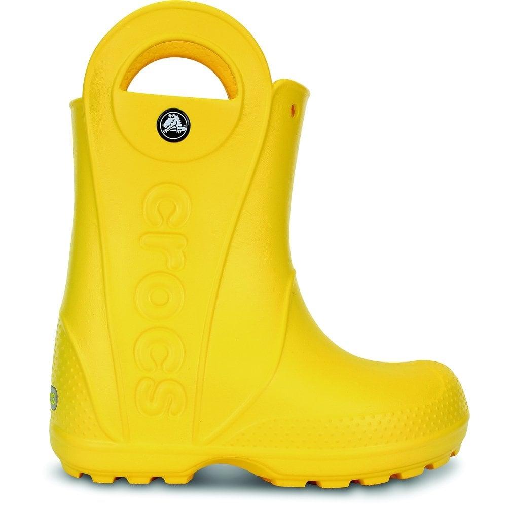 Crocs Kids Handle It Rain Boot Yellow Easy On Wellington