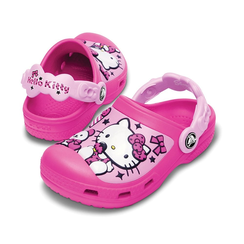 Kids Hello Kitty Creative Clog Candy & Ribbons Neon Magenta/Carnation,  fully moulded Hello