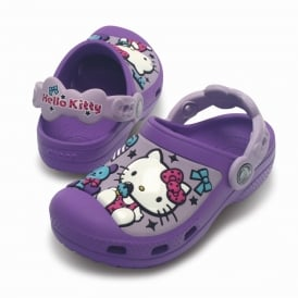 Kids Hello Kitty Creative Clog Candy & Ribbons Purple, fully moulded Hello Kitty design