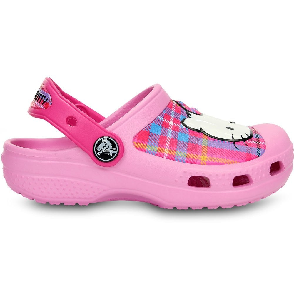 91ca9233acf4 Crocs Kids Hello Kitty Creative Clog Plaid Carnation Neon Magenta ...