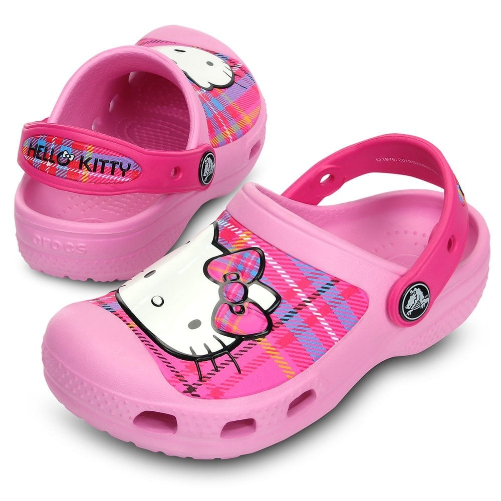 5ea440173 Kids Hello Kitty Creative Clog Plaid Carnation/Neon Magenta, fully moulded Hello  Kitty design