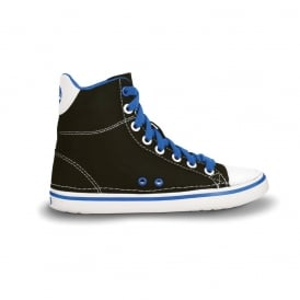 Kids Hover Sneak Hi Top Black/Sea Blue, Retro styled classic sneaker with canvas upper