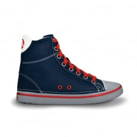 Kids Hover Sneak Hi Top Navy/Light Grey, Retro styled classic sneaker with canvas upper