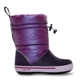 Kids Iridescent Crocband Gust Boot Viola/Mulberry, Water resistant nylon upper with shimmer