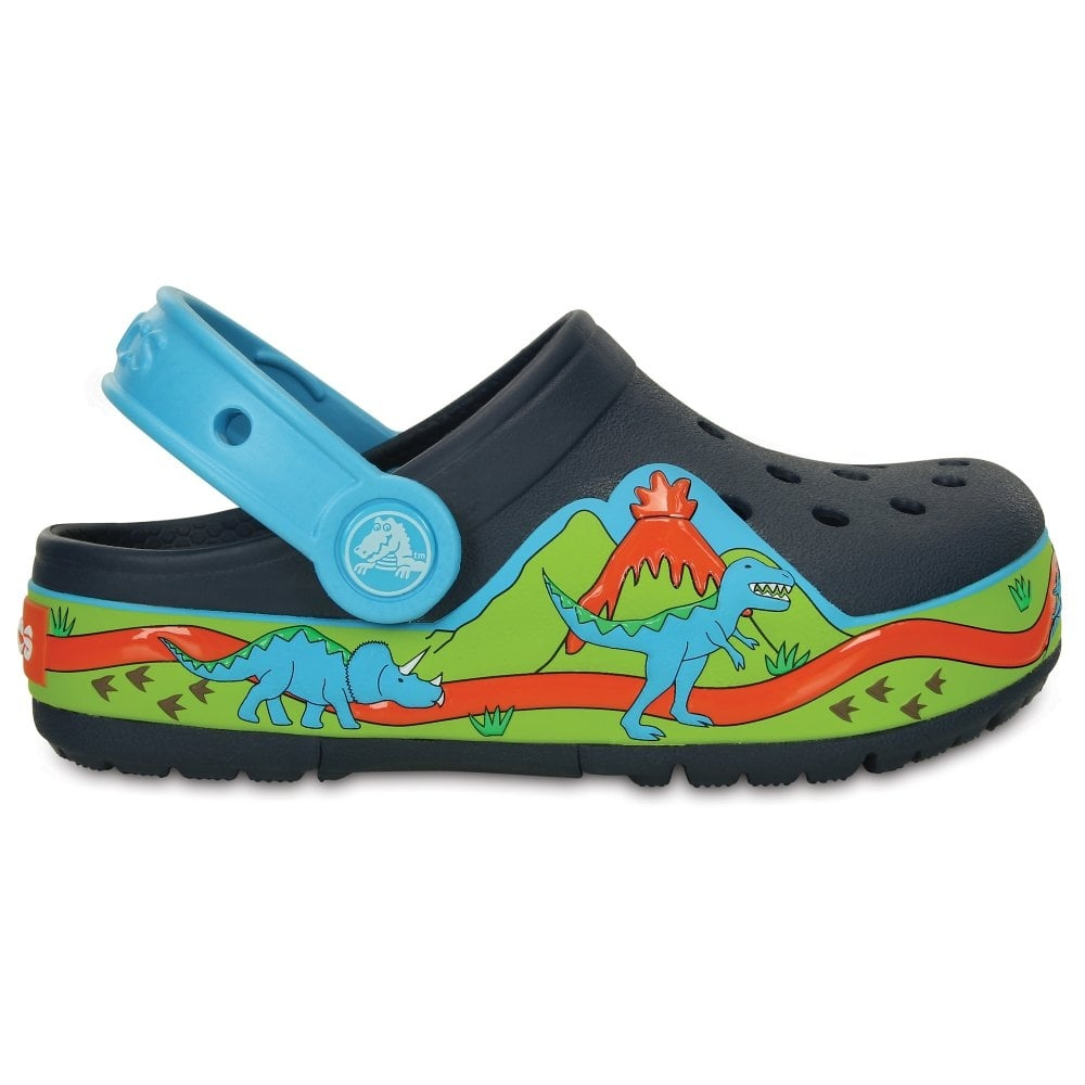 Kids Lights Dinosaur Clog Navy Volt Green The Comfort Of Clic But With