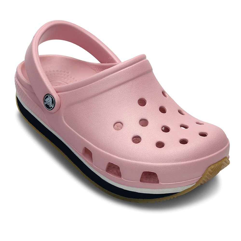 4e3915a52a165 Kids Retro Clog Petal Pink/Navy, Slip on shoe with 21st century comfort and