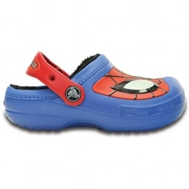 Kids Spiderman Lined Clog Varsity Blue, glow in the dark lined clog!