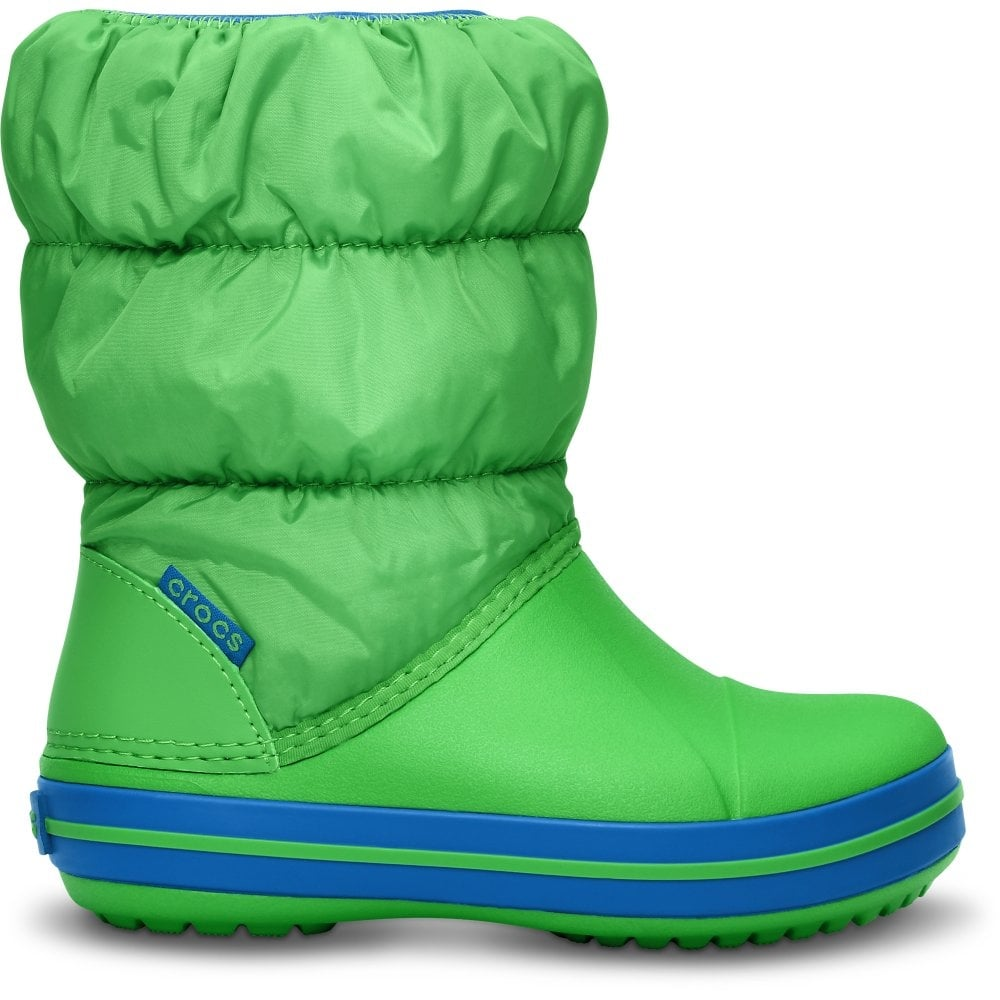 2ae45e072449c Crocs Kids Winter Puff Boot Lime Sea Blue