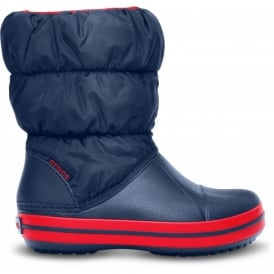 Kids Winter Puff Boot Navy/Red, puffed boots for warmth