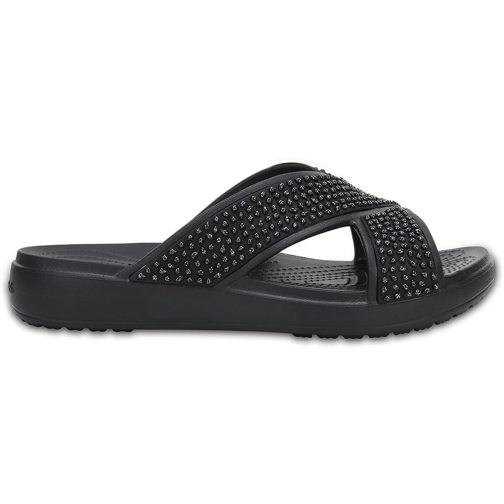 ec5c20e6585b7 Crocs Ladies Sloane Embellished XStrap Black, Feminine slide sandal ...