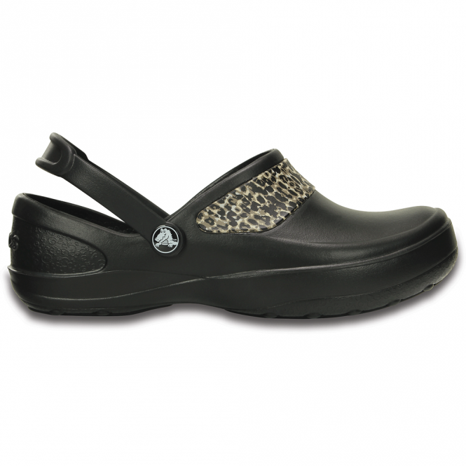 Crocs Mercy Work Black/Gold, Fully molded Croslite clog, with Lock non slip soles and back strap