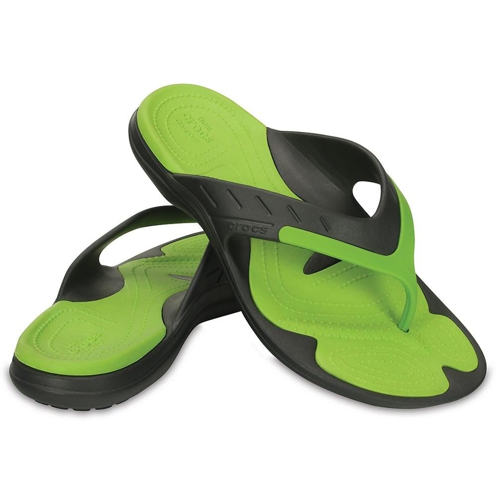 98f994f9a68bd6 Crocs Modi Sport Flip Graphite Volt Green