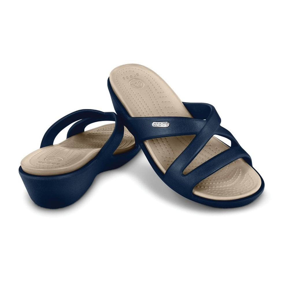 Patricia II Navy/Stucco, Mini wedge sandal made entirely from Croslite