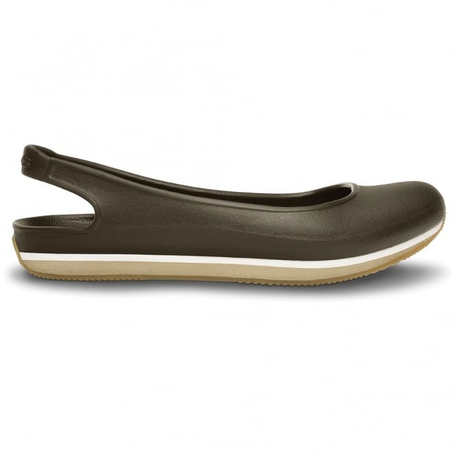 Crocs Retro Slingback Flat Espresso/Chai, Sling back 70's inspired shoe with ballet pump look