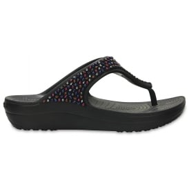 Sloane Embellished Flip Black Multi, a pretty and feminine everyday platform flip flop