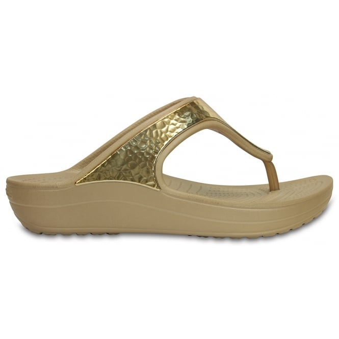 Crocs Sloane Embellished Flip Gold Metallic, a pretty and feminine everyday platform flip flop