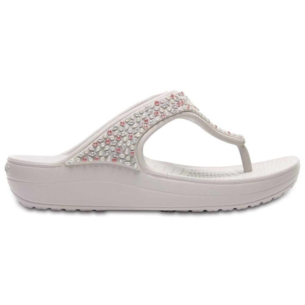 f91ba159b15a Crocs Sloane Embellished Flip Pearl White - Women from Jellyegg UK