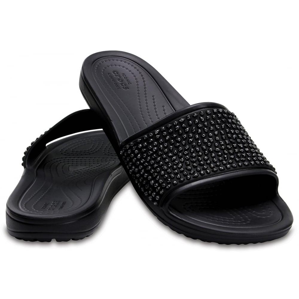 Embellished Sloane Crocs Slide Blackblack Sandal Fun Sparkle r5rdqnwE