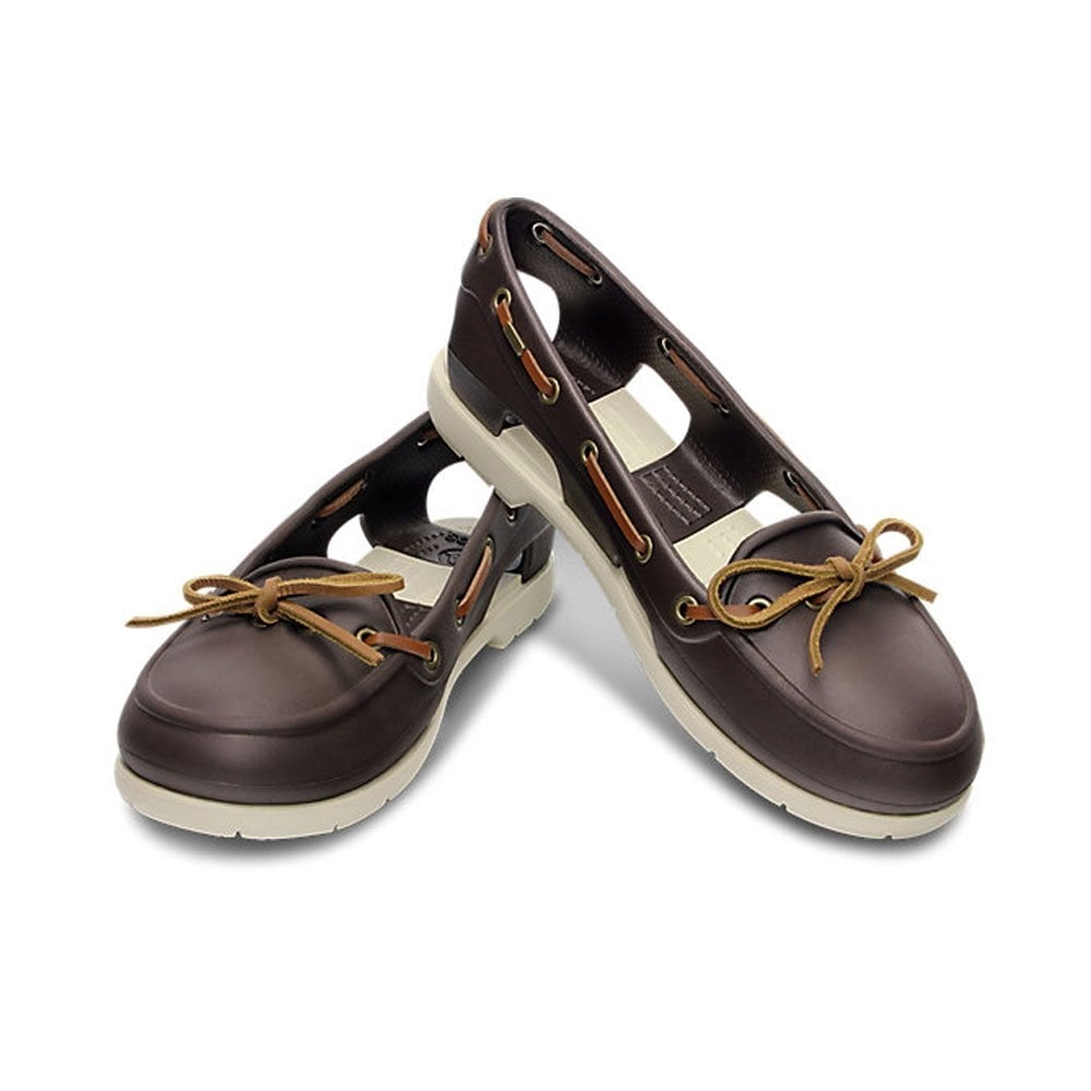 b3410ac75c0c2 Crocs Womens Beach Line Boat Shoe Espresso Stucco